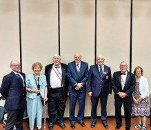 Pictured (left to right) are Bob Walsh, K of C District Representative; Nancy Phalen; Maynard Iverson, Scribe, St. Steven's Assembly; Bill Phalen, Initiate; Chuck Guillaume, Comptroller, St. Steven's Assembly; Ron Moffatt, Initiate; and Karen Shafer.