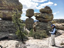 Ginny Metz enjoying Chiricahua National Monument during last year's Special Hike near Willcox, AZ. (Photo by Warren Wasescha)