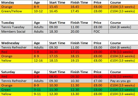 Tennis Timetable 201819