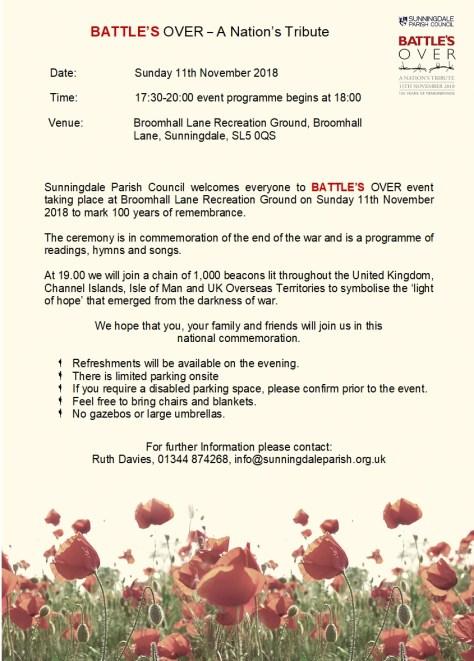 Battle's Over 11th November Sunningdale Parish Council