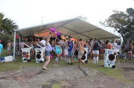 Sunny bins relaying the DJ at Boomtown, Shark Island 2010