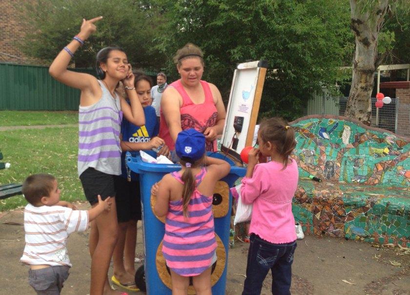 Fun round the bin at Karabi community