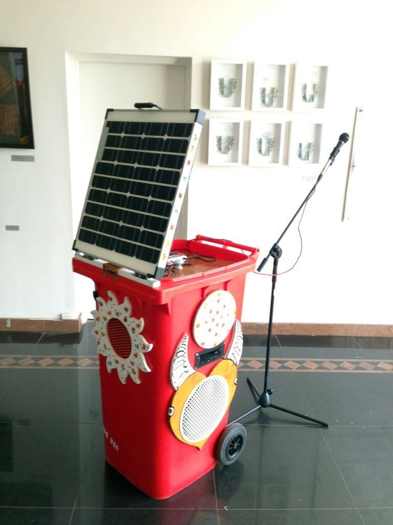 The Love bin with a mic for the celebrant