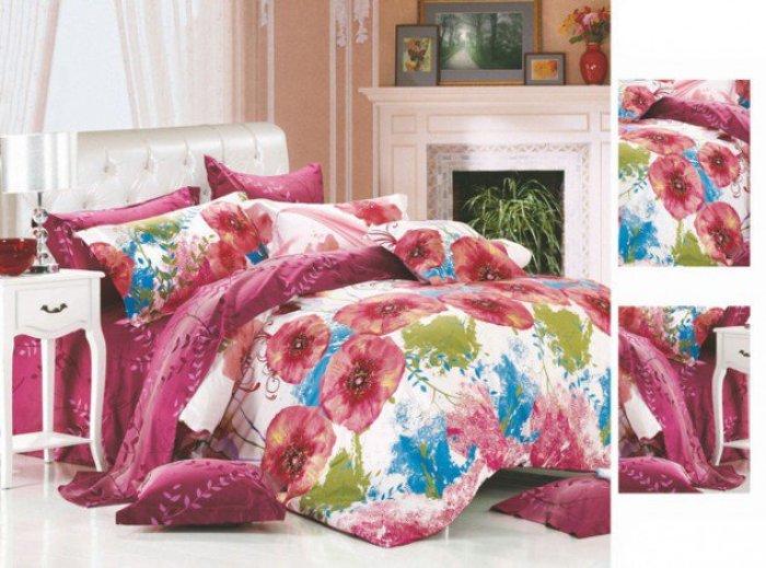printed_flower_full_size_family_hotel_100_cotton_custom_bedding_set