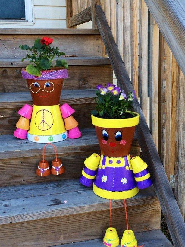 διασκεδαστικές κατασκευές με γλάστρες για τον κήπο18