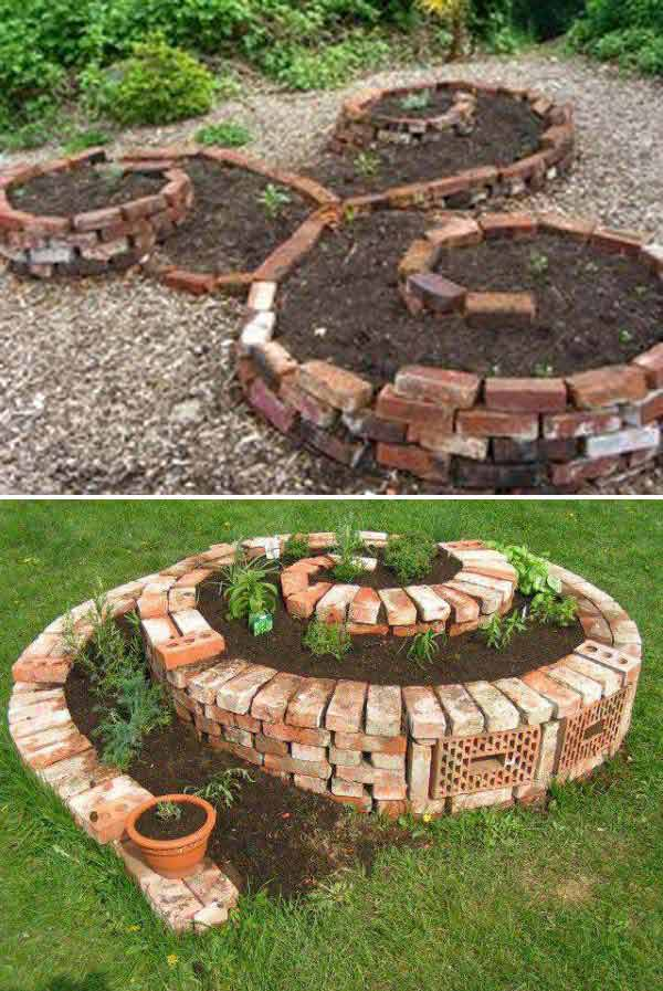 DIY ιδέες κήπου ή αυλής από τούβλα5