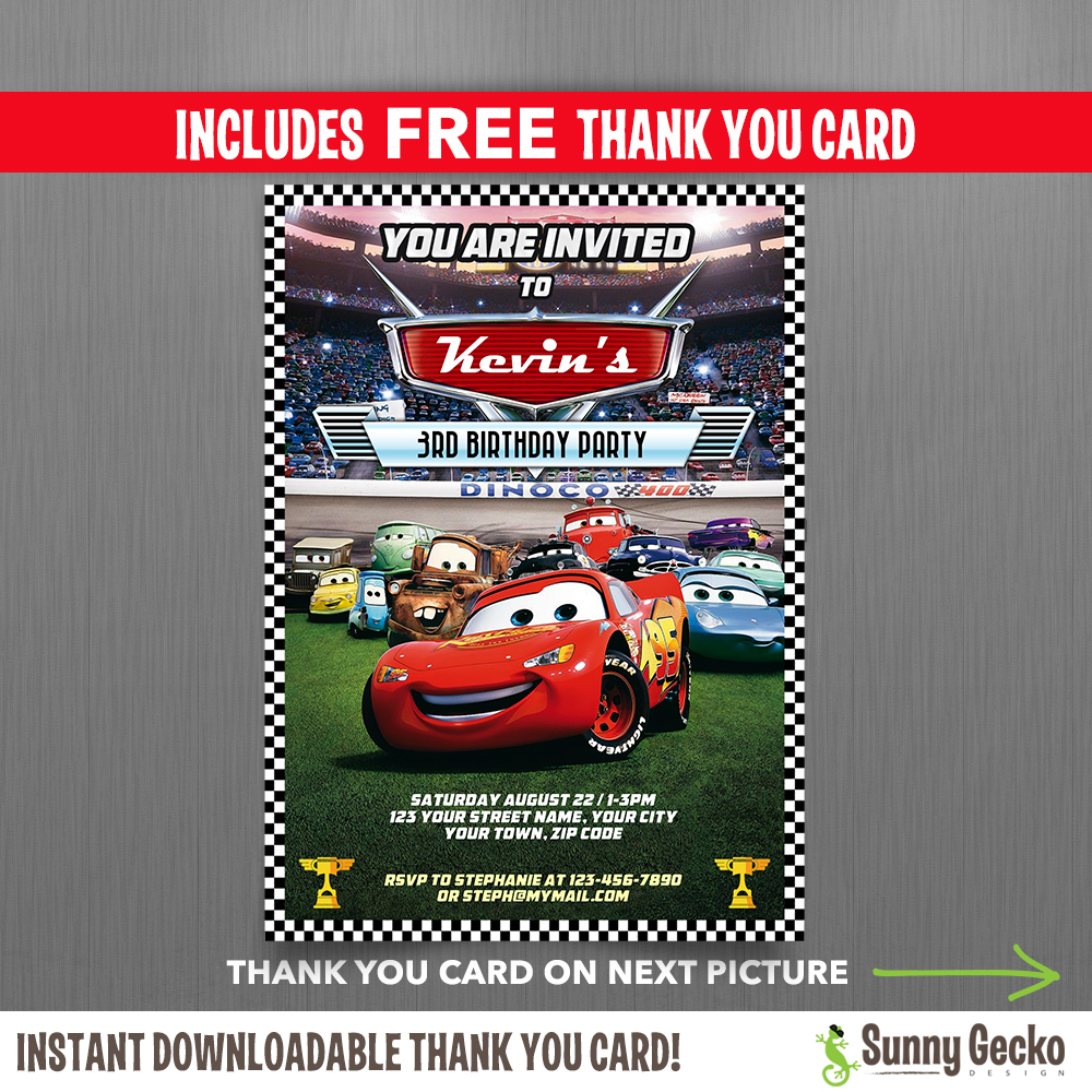 cars lightning mcqueen birthday invitation with free editable thank you card