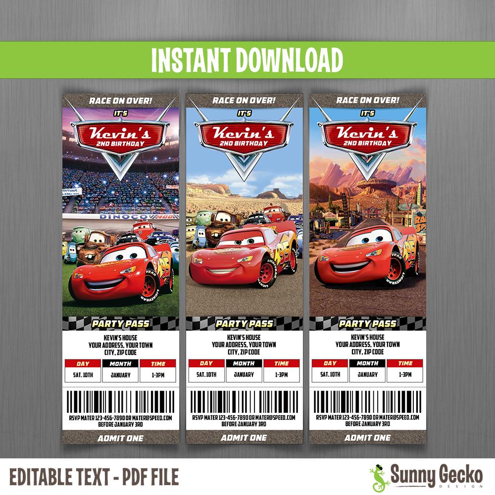 cars birthday ticket invitations lightning mcqueen