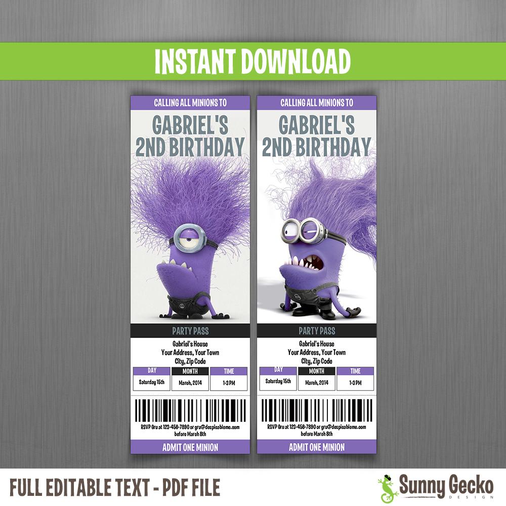 evil minions birthday ticket invitations