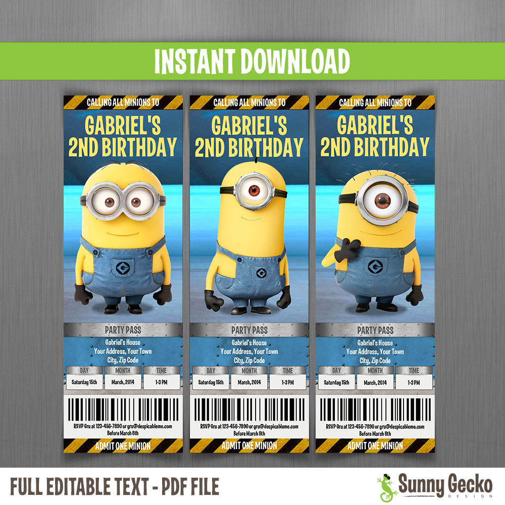 minions birthday ticket invitations lab set