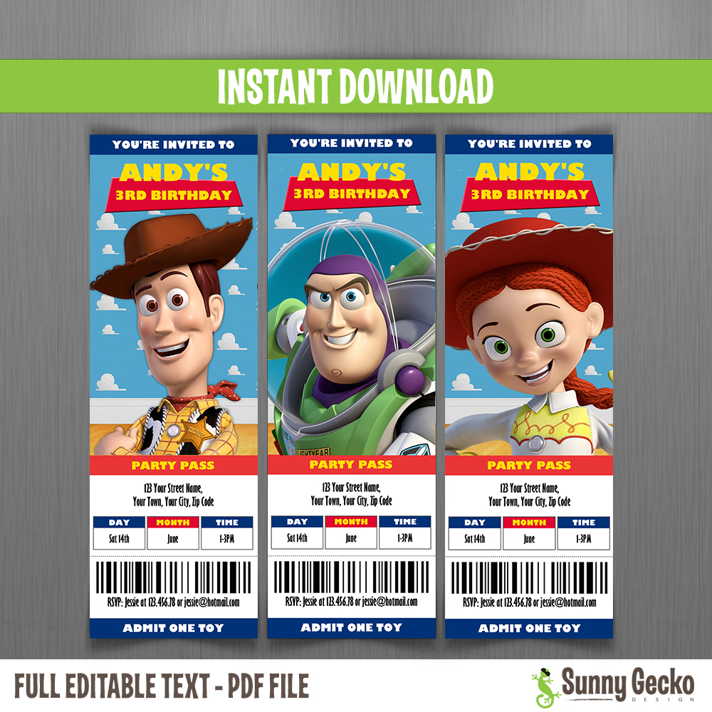 toy story ticket invitations