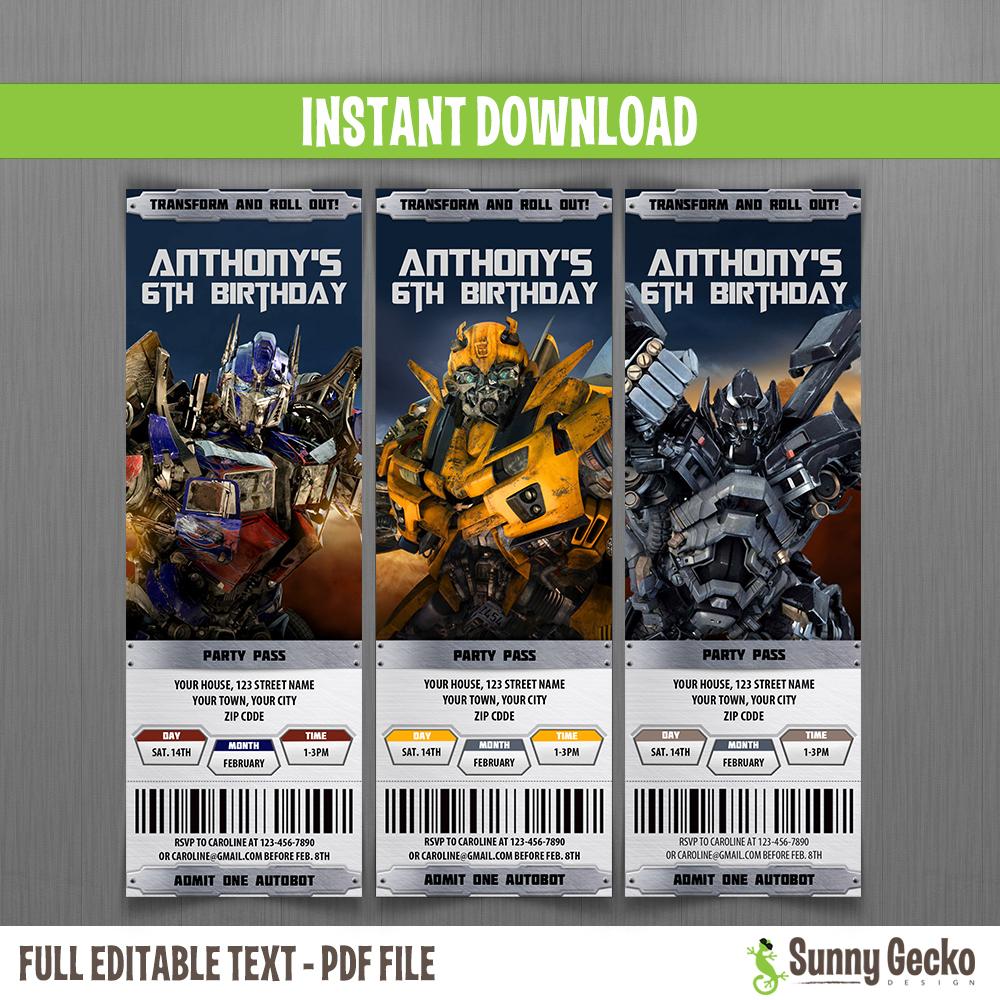 transformers birthday ticket invitations