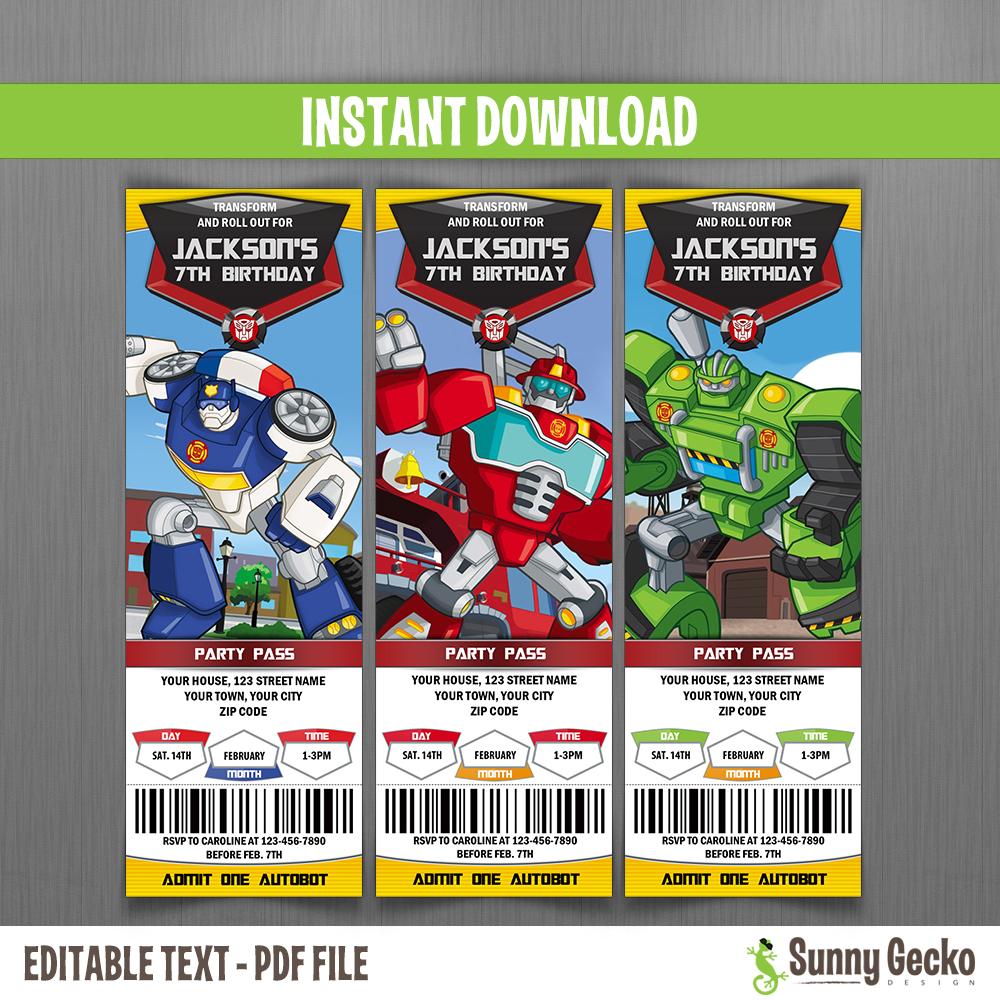 transformers rescue bots birthday ticket invitations
