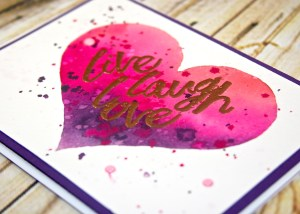 Live Laugh Love card featuring a watercolor technique with Liquid Frisket created by Pam Staples. Help today with my Fundraising Workshop! Consider ordering supplies for this card, or any of the projects I create, visit my blog at www.sunnygirlscraps.com for more information. #love #liquidfrisket #stampinup #sunnygirlscraps #hurricanematthew #matthew #watercolor #flooding
