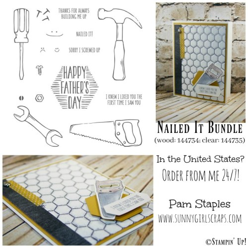 Yes, I totally Nailed It with the Stampin' Up! Watercolor Pencils and Hexagon Dynamic Textured Impressions Folder. The Nailed It Bundle is fun and great for Masculine cards. For more details, visit Pam Staples at www.sunnygirlscraps.com Place your Stampin' Up! order by visiting my blog: www.sunnygirlscraps.com #nailedit #sunnygirlscraps #stampinup #papercrafts #watercolorpencils