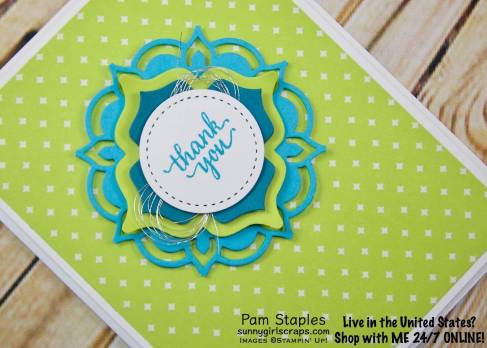 This week it is the first Inspirational Challenge on the Paper Craft Crew Challenge Blog. I was inspired by colors and pattern. This bright, bold, fun card features the Eastern Palace Suite using the Eastern Beauty Stamp Set and Eastern Medallions Thinlits. Handmade card created by Pam Staples. Stamp with SunnyGirlScraps today. Place an order today by visiting: www.sunnygirlscraps.com #stampittips #easternbeauty #stampinup