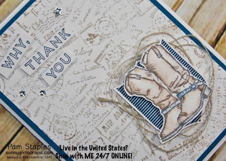 In the traveling mood with the Post Script Background Stamp. Card also features the Country Livin' along with the Badges & Banners Stamp Sets. Card created by Pam Staples. Visit www.sunnygirlscraps.com for more information. #postscript #masculine #stampinup