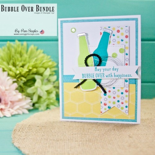 The Bubble Over Bundle is a great stamp set from Stampin' Up! With only a few supplies, I created this fun, bright gender neutral card. Place YOUR order today for the Bubble Over Bundle and save 10% on the Stamp Set and dies. Go to www.sunnygirlscraps.com #bubbleover #stampinup #sunnygirlscraps #handmadecard #tranquiltide #washitape #masculinecard #becreative #handmadecard #papercraft #papercrafts #creativity #create #creativenation #cards #madewithlove #diy