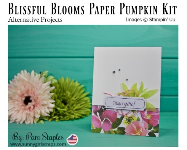 Blissful Blooms Paper Pumpkin Alternative Project with florals on the bottom and a stamped tag