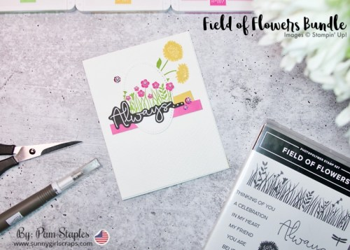 Always Thinking of You Card using the Field of Flowers Bundle featuring Magenta Madness, Bumblebee and Granny Apple Green.