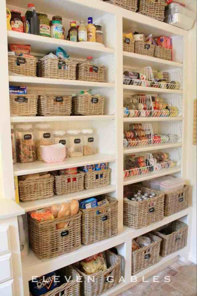 use baskets for pantry organization