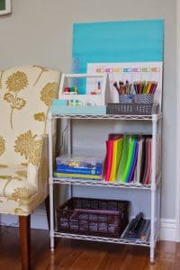 Simple Homework Supplies Station