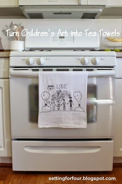 Tea Towels with Custom Children's Art DIY Christmas Present
