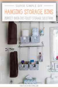DIY Storage Bins Over Toilet Shelving
