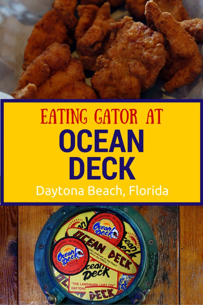 Eating Gator Bites at Ocean Deck, a beach bar in Daytona Beach, Florida