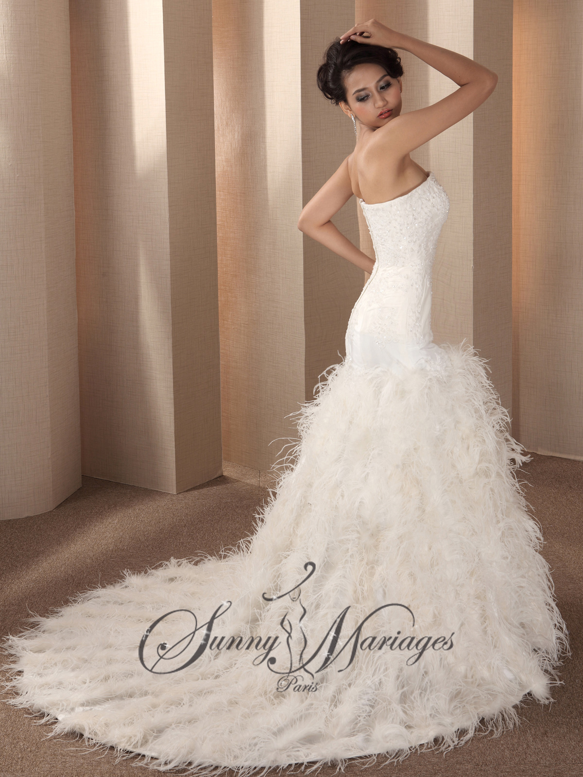 Feather Bottom Wedding Dress