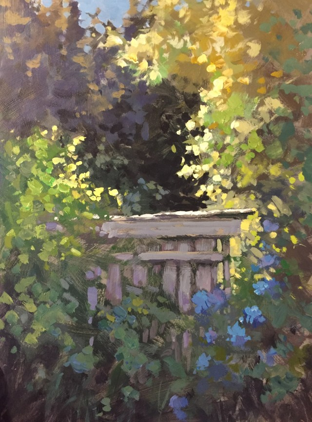 24 - Dad's Woodshed, Mom's Flowers - 16x12