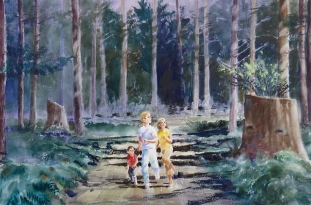 Kids running home at night