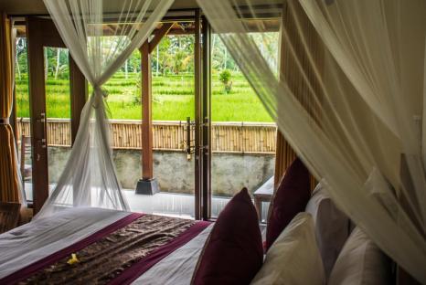 Pajar House Ubud Villa und Blick in die Reisfelder