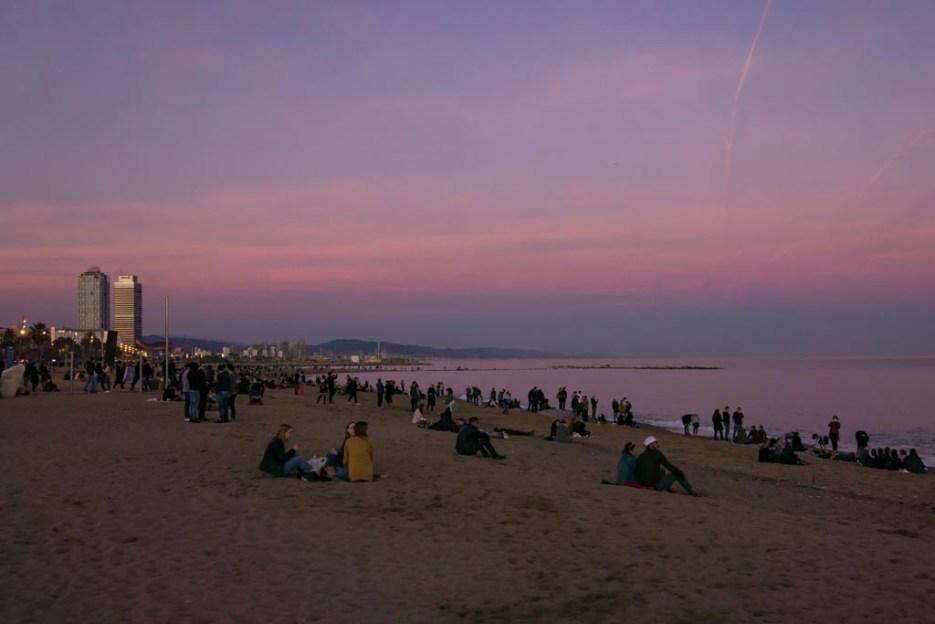 Kurztrip Barcelona Barceloneta Sonnenuntergang