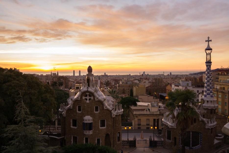 Barcelona Kurztrip Park Güell Sonnenaufgang