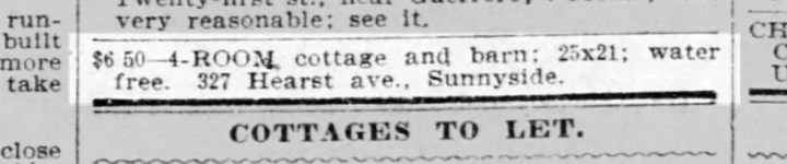 Advertisement 1899 for a house with a large barn.