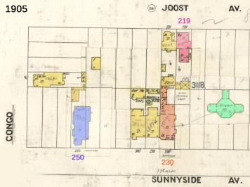 Modified 1905 Sanborn map. Colors added to help track changes in house numbering.
