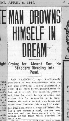 News item on drowning in Sunnyside creek's pond. Oakland Tribune, 6 April 1915. From Newspapers.com.