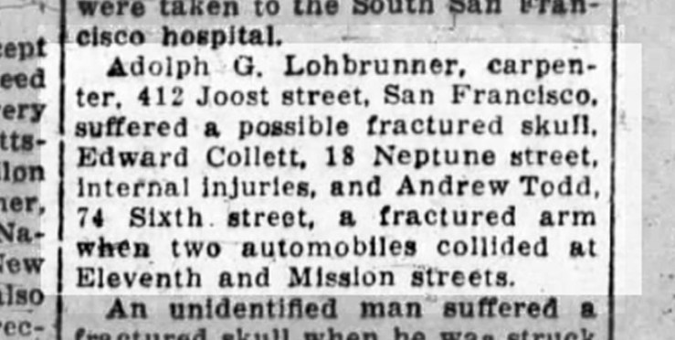 Mention in Oakland Tribune of Adolph Lohbrunner's accident. 31 March 1924. From Newspapers.com.
