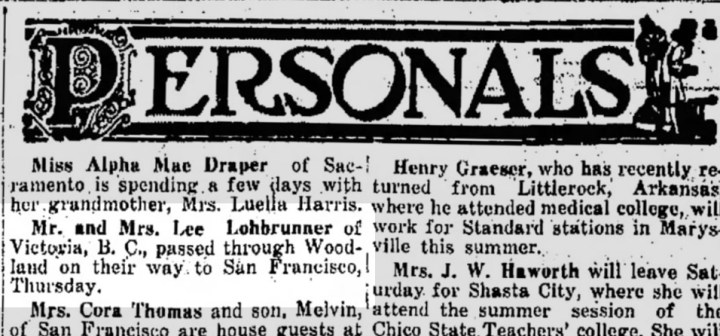 Woodland Democrat, 21 June 1934, mentioning Lee and Mary Lohbrunner travels. From Newspapers.com.