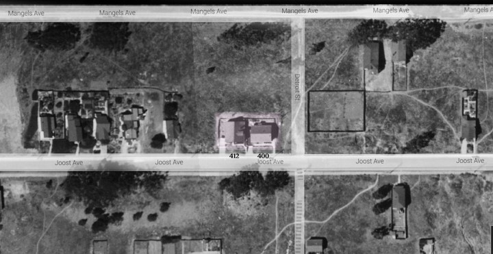 Composite of 1938 aerial photograph, davidrumsey.com, with overlay of googlemaps.com for position of streets. 412 and 400 Joost at center, tinted.