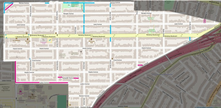 Altered map from OpenStreetMap.org. Turquoise blue marks removed streets (from original 1892 layout) and pink marks where streets were added not included in original map. (Alterations: Amy O'Hair)