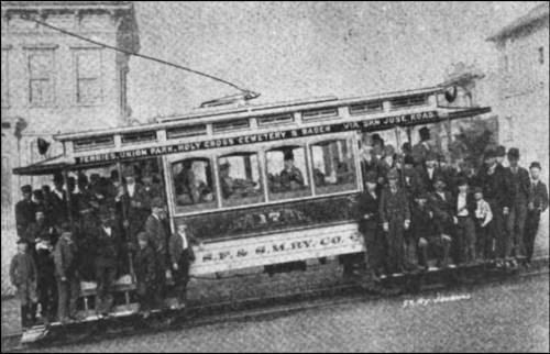 Streetcar on San Francisco and San Mateo Electric Railway. From Street Railway Journal, July 1892.