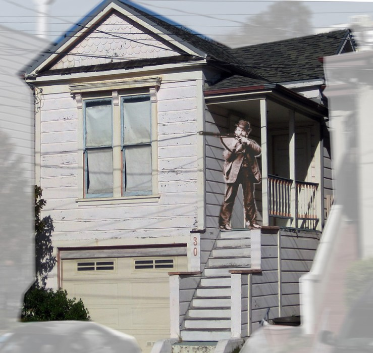 The Colverts' house at 10 Spreckels Avenue (now 30 Staples Avenue). Photo and imaginary composite: Amy O'Hair.