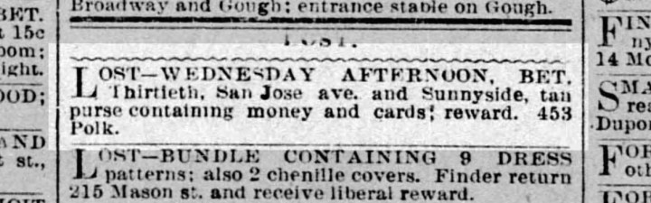 SF Call, 12 March 1896. Miss Riordan lived at 453 Polk Street at this time. From newspapers.com.