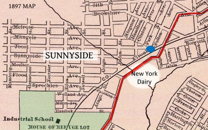 Approximate location of George Smart's New York Dairy. Blue dot is Schultz's Saloon. 1897 Rand McNally map. From David Rumsey.com.