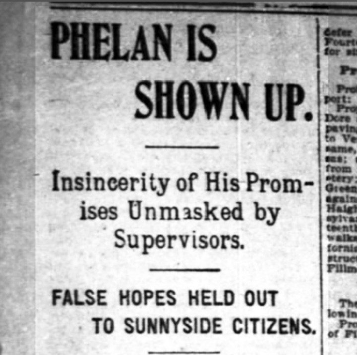 """Phelan is Shown Up"" SF Chronicle, 1 November 1898. From newspapers.com."