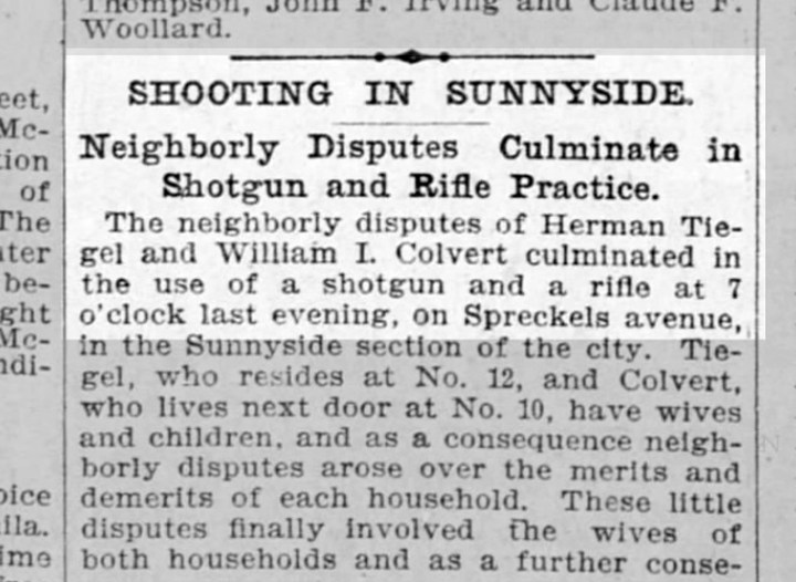 Report of Tiegel and Colvert exchanging gunfire in Sunnyside. From SF Call, 12 Nov 1898. From Newspapers.com.