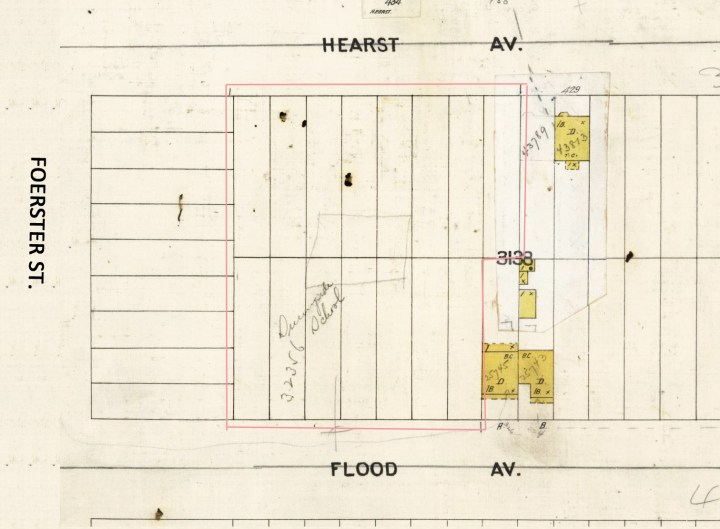 1905 Sanborn map, showing where Sunnyside School would be built in 1909. Note the hastily sketched in square to indicate where the building will go. This school lot did not yet include the lots fronting Foerster Street, which would be acquired later.
