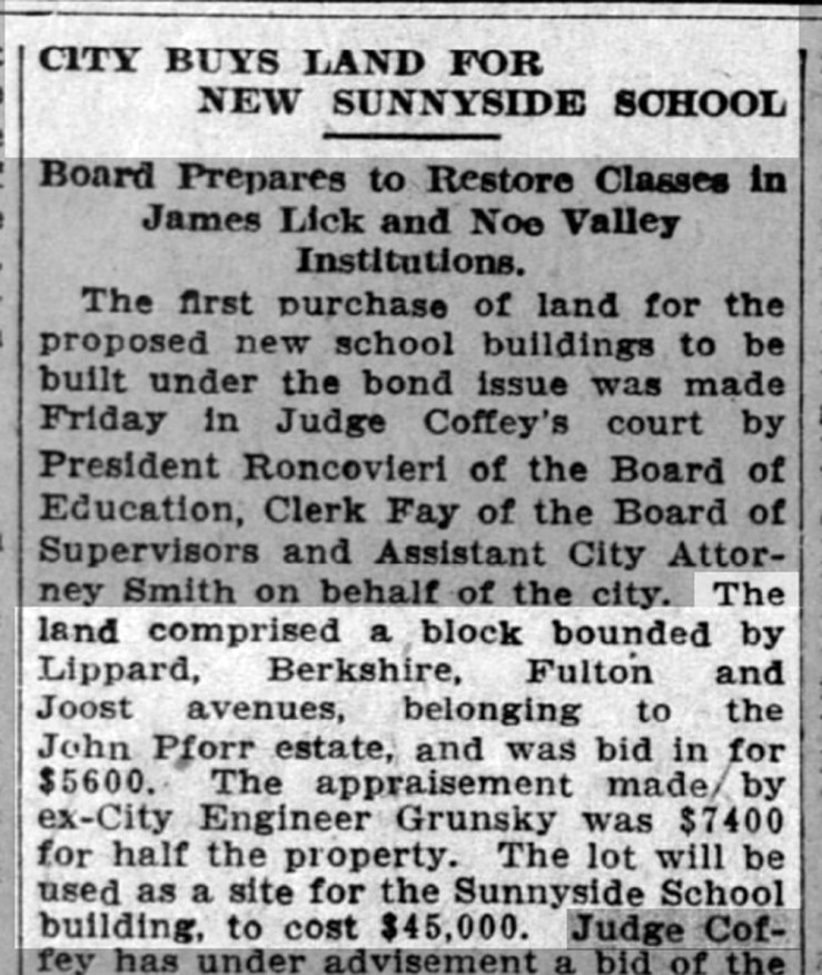 "SF Call, 5 March 1905. Land for ""Sunnyside"" School bought--though really Glen Park School location. From newspapers.com."